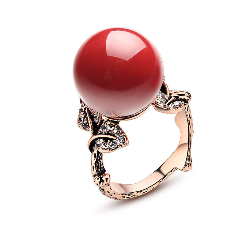 Luxury Red Coral Carved Ring Rose Gold Color