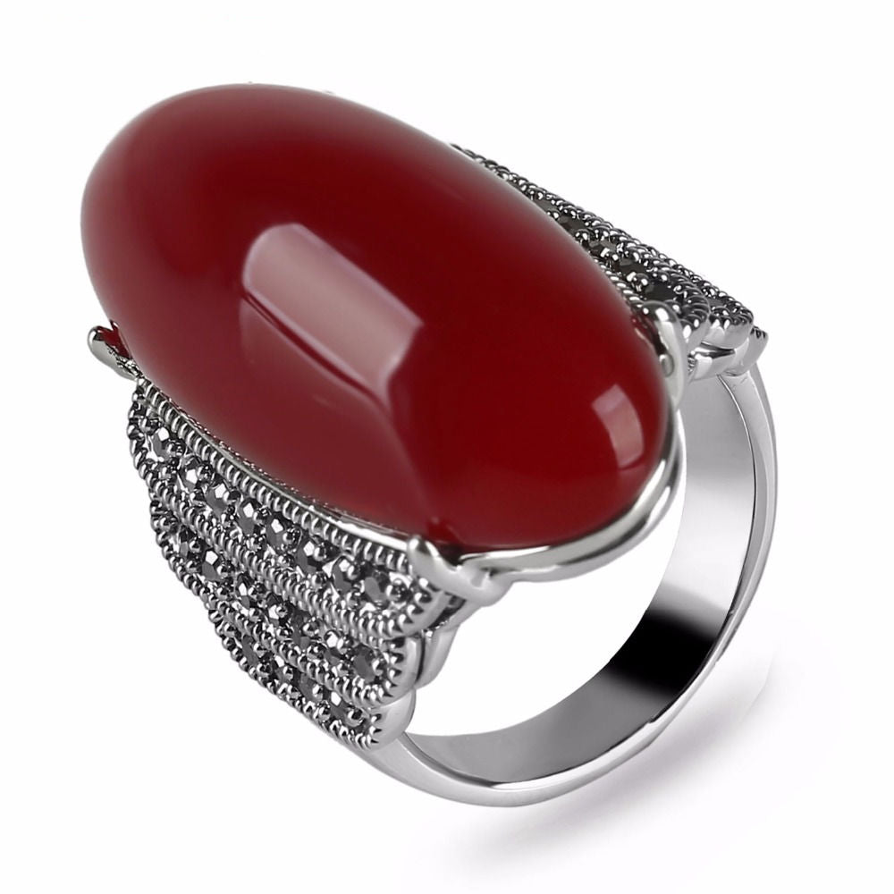 Vintage Red Natural Stone Ring