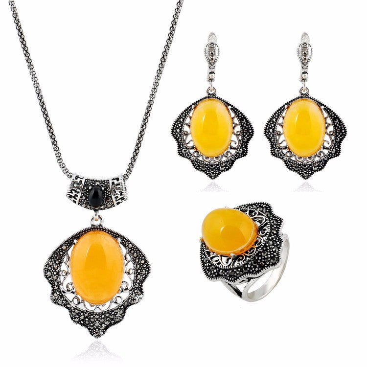 Vintage Yellow Natural Stone Jewelry Set