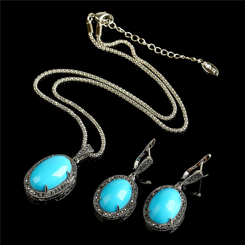 Vintage Blue Natural Stone Jewelry Set