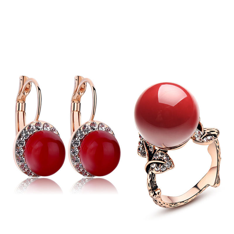 Luxury Red Coral Earrings + Ring Jewelry Set