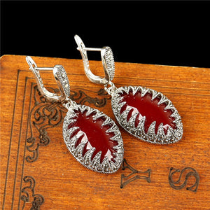 Vintage Red Natural Stone Jewelry Set