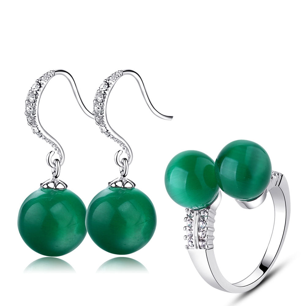 Green Natural Stone Double Ball Ring And Earrings Set