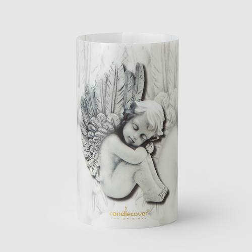 Angels Candlecover Black and white candle