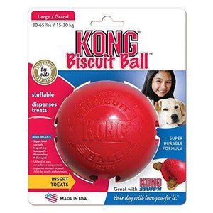 KONG Biscuit Ball Dog Toy, Red