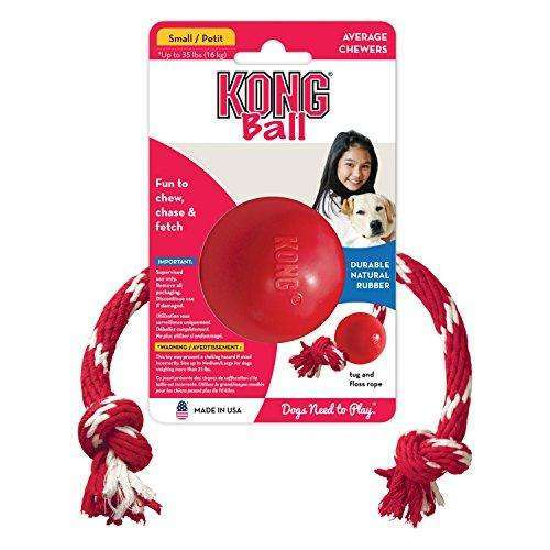 KONG Ball with Rope Dog Toy, Small, Red