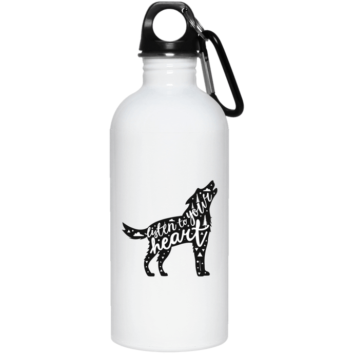 DoggieCo Listen To Your Heart 20 oz. Stainless Steel Water Bottle