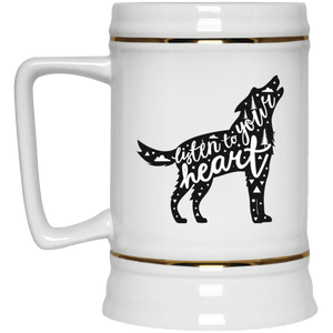 DoggieCo Listen To Your Heart Beer Stein 22oz.