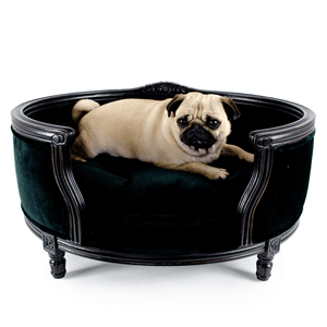 Lord Lou George Luxury Dog Bed - Black Velvet