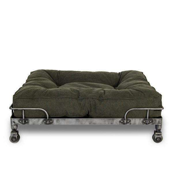 Lord Lou Wheely Luxury Dog Bed - Stonewashed Dark Green