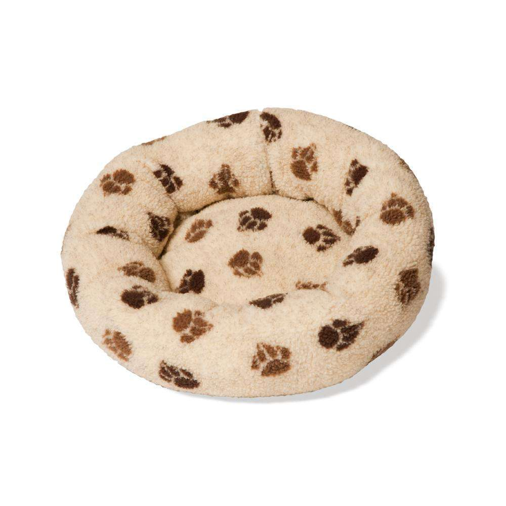 Danish Design Fleece Beige Brown Paw Cushion Bed