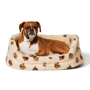 Danish Design Fleece Beige Brown Paw Slumber Bed