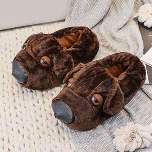 Tired Dog Plush Slippers