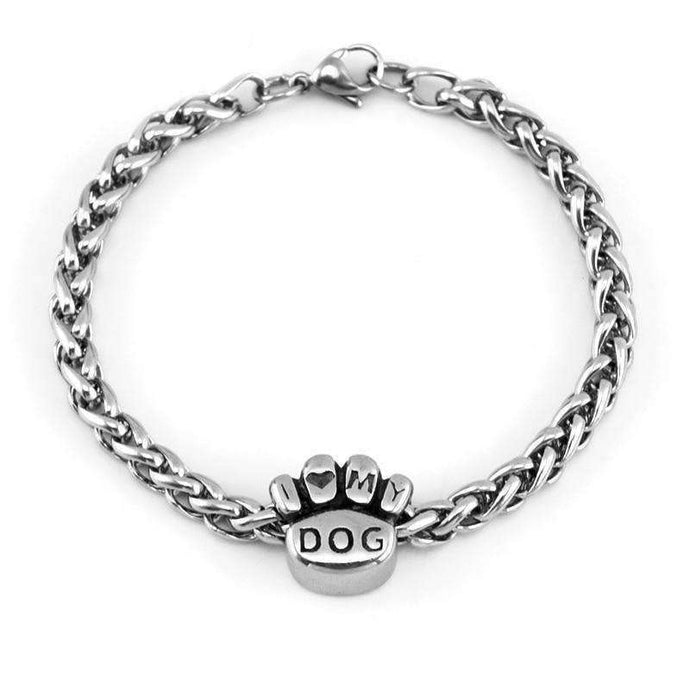 I Love My Dog Braid Dog Paw Bracelet