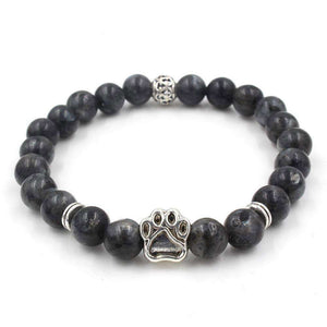 Natural Stone Beads Dog Paw Bracelet Black