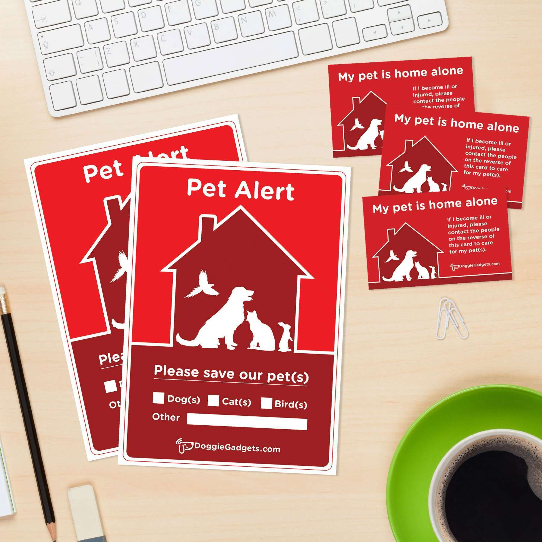 Emergency Pet Alert Pack - 2 x Stickers and 3 x Business Cards ...