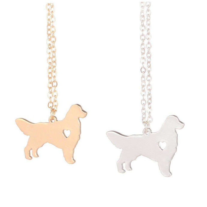 Golden Retriever Heart Pendant Necklace