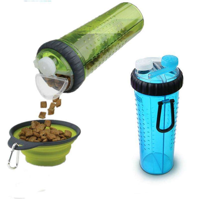 Portable Travel Food & Drink Bottle With Silicone Collapsible Travel Bowl