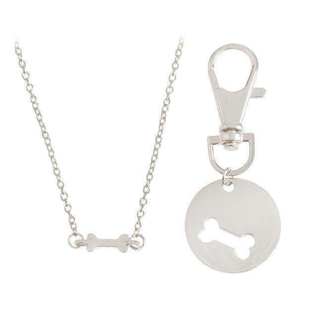 2 Piece Bone Love Necklace and Pet Tag Set