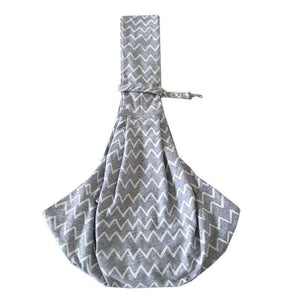 Grey Striped Cotton Dog Sling Carrier