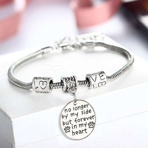 No Longer By My Side But Forever In My Heart Dog Pet Paw Footprint Bracelet