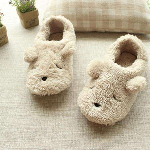 Cartoon Dog Plush Slippers
