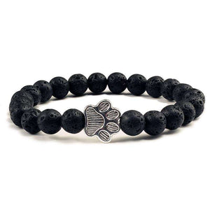 Lava Rock Beads Dog Paw Bracelet