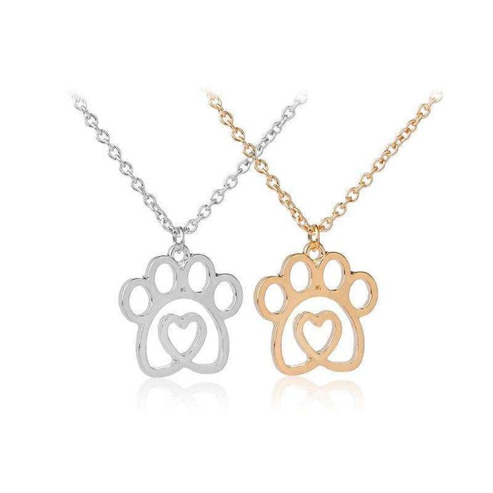 Dog Paw Prints Heart Necklace