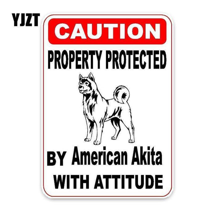 Property Protected By American Akita Car Sticker