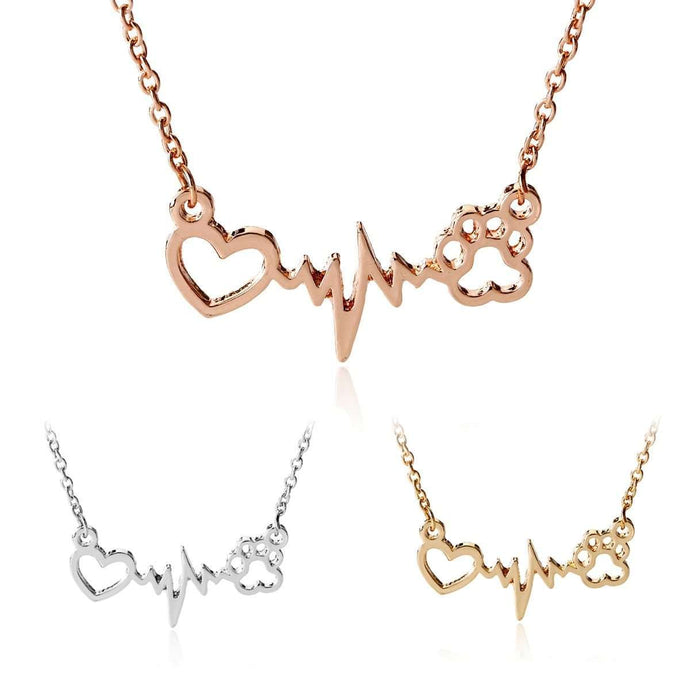 Love Heartbeat Paw Necklace