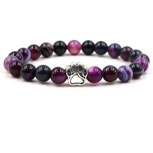 Natural Stone Beads Dog Paw Yoga Bracelet Purple