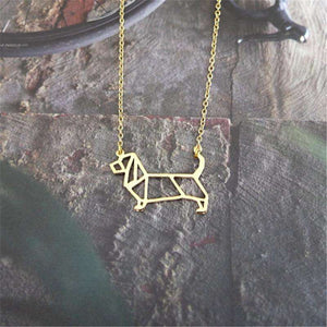 Basset Hound Geometric Necklace