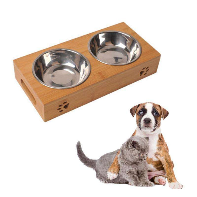 Stainless Steel & Bamboo Feeding And Drinking Bowls