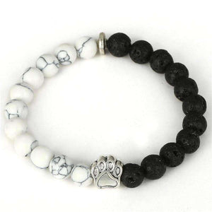 Natural Stone Beads Dog Paw Yoga Bracelet