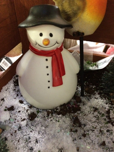Miniature ceramic snowman