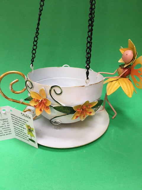 Daffodil fairy hanging teacup