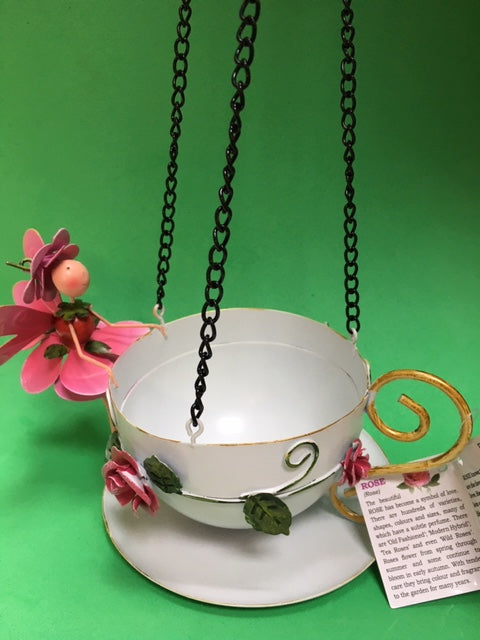 Rose fairy hanging teacup