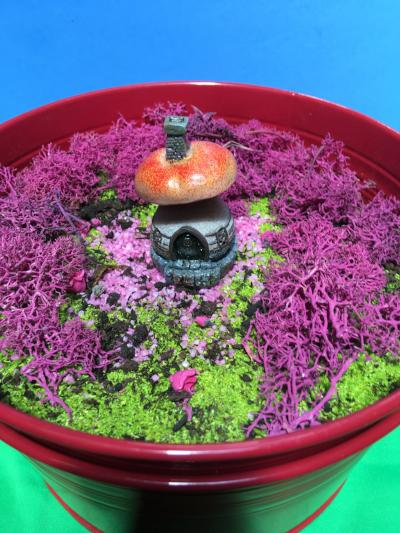toadstool house in tiny garden
