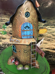 metal pixie house, in the style of a tree, with a ladder leading to door H:28cm