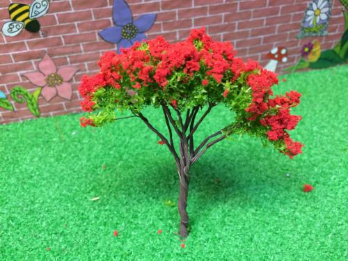 Miniature red flowering tree