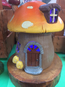 Light up mushroom fairy house