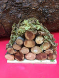 Mini log pile with moss