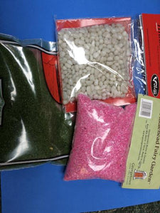 Scenic pack contents white glass pink gravel scatter grass