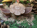 Wooden flower table with chairs
