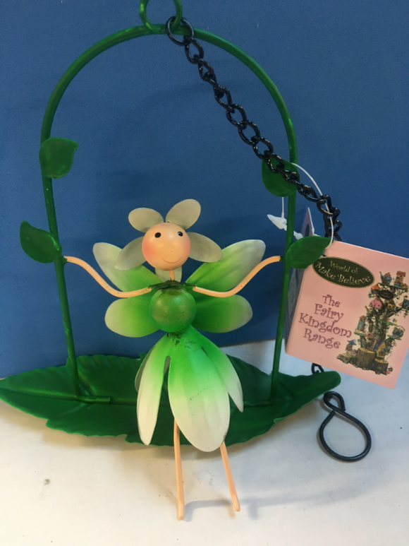 metal snowdrop fairy sitting on leaf swing, suitable to hang up