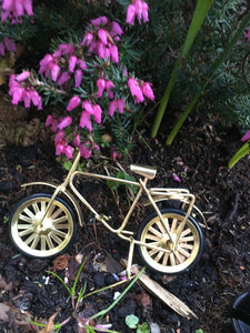 Miniature bicycle under real flowers