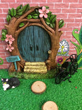 Blue fairy door with accessories