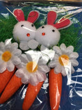 Easter bunnies and carrots set