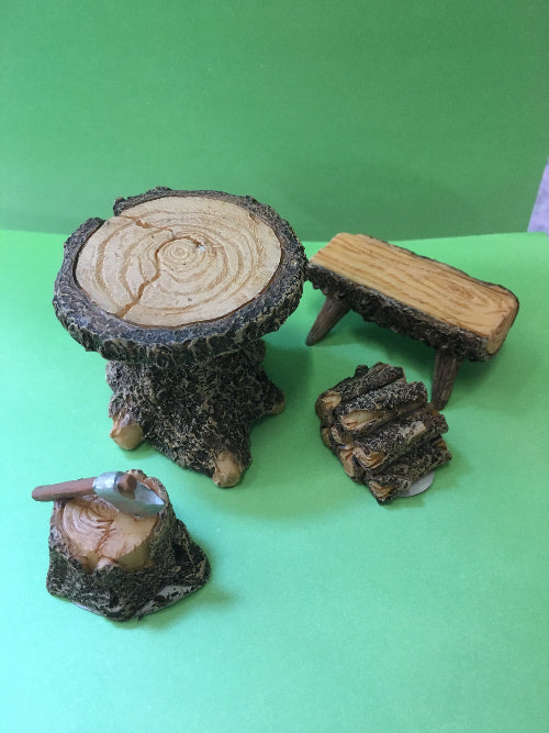 mini table, bench, logs