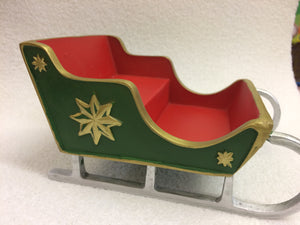 Red and green miniature sleigh scenic